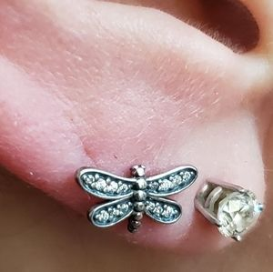 Pandora Jewelry - NWT Pandora Dragonfly earrings in Sterling Silver